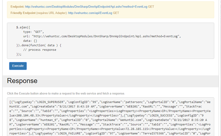 Screenshot of API Endpoint